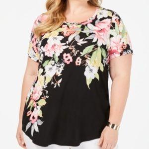JM Collection Garden Black Floral Shirt